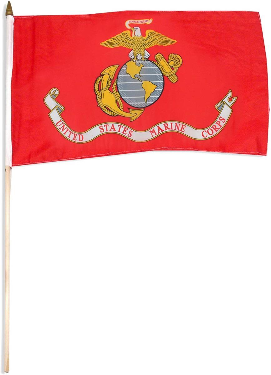 12 X 18 Inch US Marine Corps Stick Flag