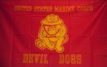 USMC Devil Dogs Flag - 3 ft X 5 ft