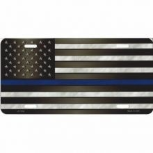 Thin Blue Line U.S. Flag License Plate