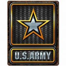 US Army Carbon Fiber Vintage Metal Sign