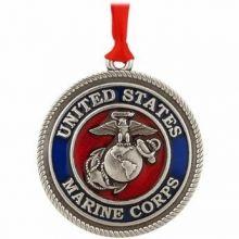 US Marine Corps Pewter Christmas Ornament