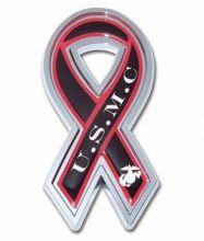 USMC Ribbon Chrome Auto Emblem