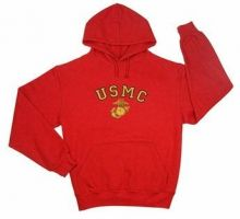 Red USMC Pullover Hooded Sweatshirt