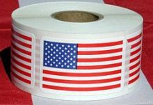 Roll of 100 US Flag Stickers