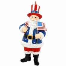 USA Santa With Flag Ornament