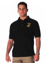Black USMC Embroidered Golf Polo Shirt