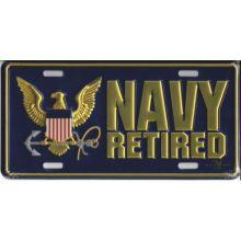 U.S. Navy Retired Metal License Plate